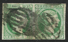 EDIFIL  20 ISABEL II 1853   5 REALES EN PAREJA  MATASELLO PARRILLA NEGRA