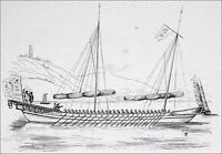 CHINA - BARGE GREAT of WAR - Engraving from 19th century