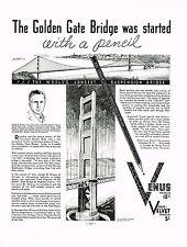 1934 BIG Vintage Venus Pencil - Joseph B Strauss Golden Gate Bridge Art Print Ad