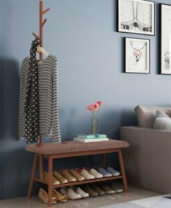 Bamboo Entryway Coat Rack Shoe Bench w/5 Hooks Storage Shelf 3 In 1 Hall Tree