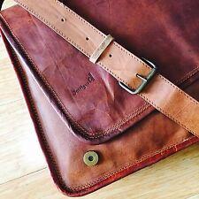 Vintage Leather Bag Messenger shoulder Bag Top Grain Goat Leather Full Flap BIG