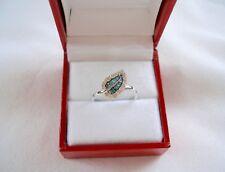 KREMENTZ-  .52 Ct.  Blue & White Diamond 'Leaf'  14k White Gold Ring
