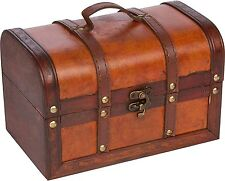 Small Wooden Leather Antique Chest Suitcase Jewelry Toy Treasure Wood Storage