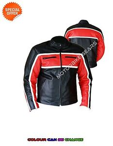 Classic motorbike leather jacker with red accross chest armoured curising jacket