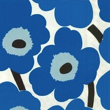 Two pkgs Finnish Marimekko Cocktail Napkins 20 pk Unikko Blue