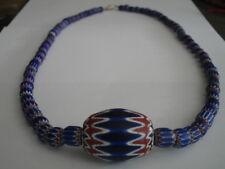 Antique Venetian Chevron Italian Glass Bead Grad.Necklace, Vintage African Trade