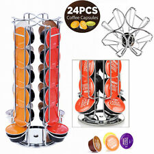 24 Coffee Pod Rotating Revolving Holder Rack Tower Capsule Stand For Dolce Gusto