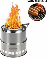 New Ohuhu Potable Wood Burning Stoves for Picnic BBQ Camp Hiking with Grill Grid