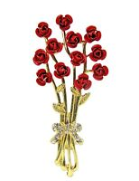 Dozen Red Roses Pin Brooch in Enamel and Crystals set onto Gold Branches - NEW