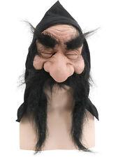 Dwarf Goblin Gnome Troll Black Hooded Mask Moustache Fancy Dress Accessory