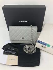 Auth CHANEL Light Grey Caviar w/ Silver HW Wallet On Chain WOC Crossbody Bag