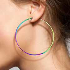 PAIR of Round Hoop Earrings 22g Rainbow Multi-color Ion Plated Stainless Steel