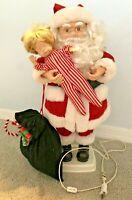 "Telco Christmas Animated Motionette Santa Holding Child 26"" Vintage"