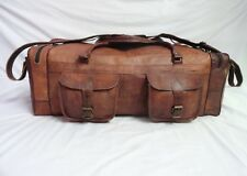 "LARGE 28"" Vintage Leather Duffle Bag Weekend Travel Luggage Handbag"