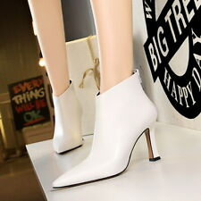 Womens Sexy Pointed Toe Ankle Riding Boots Heel Zip Back Stilettos Fashion Shoes