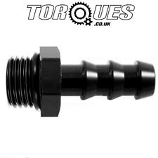 "AN -8 (AN8) ORB-8 3/4"" UNF Male To 10mm 3/8"" Barb Adapter Fitting in Black"