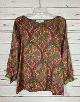 Loft Women's Size S Small Coral Green Long Sleeve Spring Summer Top Blouse Shirt