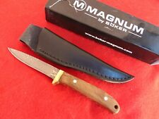 "Boker Magnum Damascus NIB 3.5"" blade burl wood bird & trout fixed blade knife"