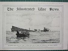1915 WWI WW1 PRINT ~ BRITISH BOAT TO RESCUE SURVIVORS OF U 12 GERMAN SUBMARINE