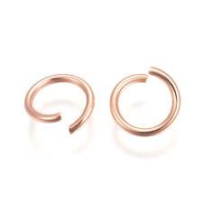 300x 304 Stainless Steel Open Jump Rings Rose Gold 8x1mm Inner Diameter: 6mm