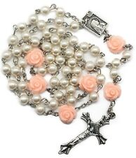 Catholic White Pearl Beads Rosary Necklace Pink Our Rose Lourdes Medal Cross 19""