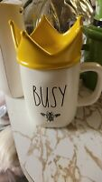"Rae Dunn Spring ""Busy Bee"" Mug W/ Yellow Crown Topper Lid LL By Magenta"