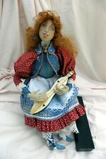 Made-in-the-Usa One-of-a-Kind Cloth Doll in Rocking Chair Holding Mtn Dulcimer