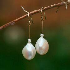 Nice 14~14.5mm Baroque Freshwater Edison Natural White pearl14KGF earrings 45mm