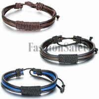 Unisex Leather Bracelet Fashion Retro Punk Rock Adjustable Wristband Bangle Cuff