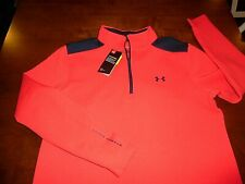 Under Armour Large 1/2 Zip Golf Playoff Storm Red/Blue Lg L Loose Fit