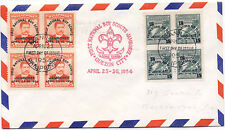 Philippines 1954 Airmai First Day Cover Boy Scouts Jamboree Blocks of 4 #608-609