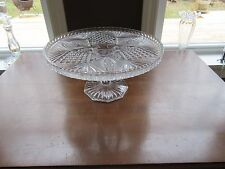 """Pressed Clear Glass Pedestal Cake Stand Plate Diamond Point & Fan Star 11"""" x 5"""""""