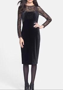 New! Ted Baker Women's Black Iriah Lace Velvet Midi Dress $279 All Sizes