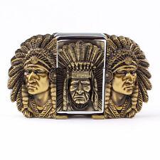 Vintage Lighter Indian Warrior Men's Belt Buckle Cowboy Native American (IW-02G)