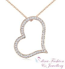 18K Rose Gold Plated Simulated Diamond Studded Exquisite Large Heart Necklace
