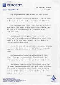 PEUGEOT 405 QUASAR Press Release 1995 ##PRICE CUT##  UK Postfree