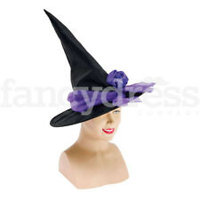 Black Purple Witch Hat with Rose Detail Veil Wicked Witch Fancy Dress NEW