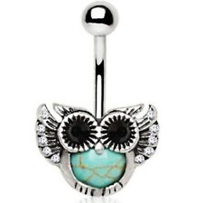 """SYNTHETIC-TURQUOISE OWL BELLY RING STEEL NAVEL PIERCING JEWELRY (14G 3/8"""")"""