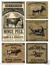Primitive Farm Animals Labels  ~ Set of Five        #502