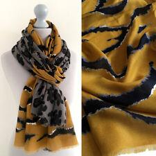 Large Leopard Print Scarf Mustard Yellow Grey Animal Zebra Big Long Shawl Wrap