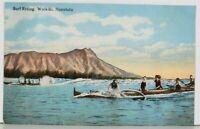 Hawaii Surf Riding Waikiki Honolulu Hawaiian Vintage Postcard K1