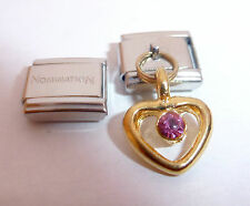 GOLD HEART PINK GEM 9mm Italian Charm + 1x Genuine Nomination Classic Link LOVE