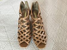 "BCBG Max Azria ""Noreen"" Women's Tan Leather Wedge Heel Sandals Size 10B"