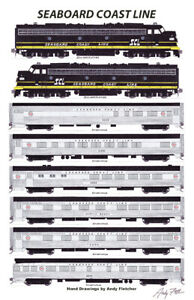 "Seaboard Coast Line Silver Meteor 11""x17"" Poster by Andy Fletcher signed"