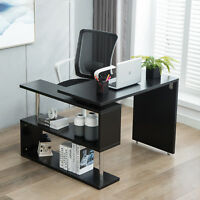 360° L-Shaped Rotating Corner Computer Desk and Storage Shelf Combo Home Office