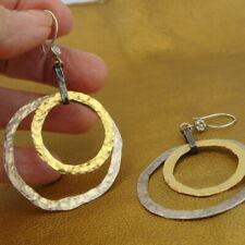Hadar Designers Large Hoop Earrings 14k Yellow Gold Fil 925 Silver Handmade (v