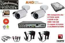 KIT VIDEOSORVEGLIANZA AHD: DVR 4 CH, 2 TVCC AHD, BALUN, HDD 160GB, 2 ALIMENTATOR