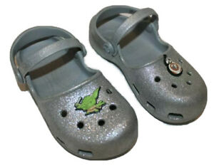 Crocs Silver Glitter Yoda Star Wars Mary Jane Shoes Sparkle Clogs Girls Size 12