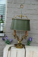French vintage empire Bronze swan arms Metal bouillotte Shade Table lamp