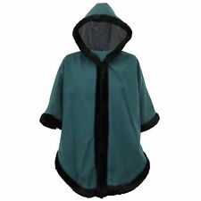 Ladies Poncho Womens Cape Hooded Faux Fur Wool Look Sleeveless Winter Casual New